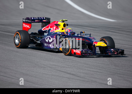 F1 driver Mark Webber during a practice session for the Formula One United States Grand Prix near Austin, Texas - Stock Photo