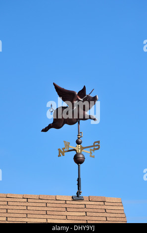 A vertical shot of a flying pig weather vane - Stock Photo