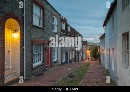 Dusk at Keere Street in Lewes, East Sussex, UK - Stock Photo