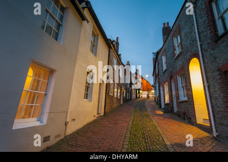 Dusk at Keere Street in Lewes, East Sussex, England. - Stock Photo