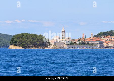 Croatian island of Rab, view on city and fortifications, Croatia - Stock Photo
