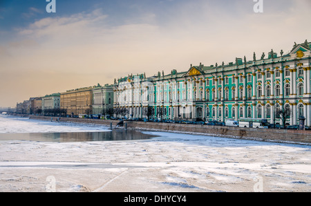 View of Saint Petersburg during winter from the banks of the Neva river. - Stock Photo