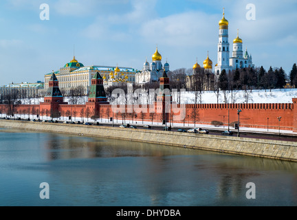 Close up view of the Kremlin from the banks of the Moskva River in Moscow, Russia. - Stock Photo