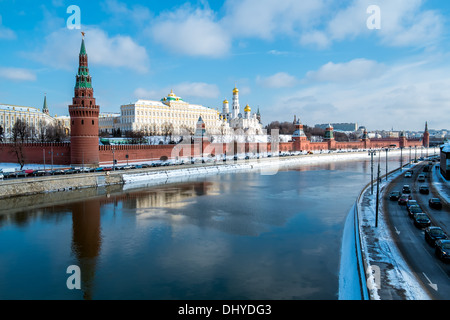 View of the Kremlin from the banks of the Moskva River in Moscow, Russia. - Stock Photo
