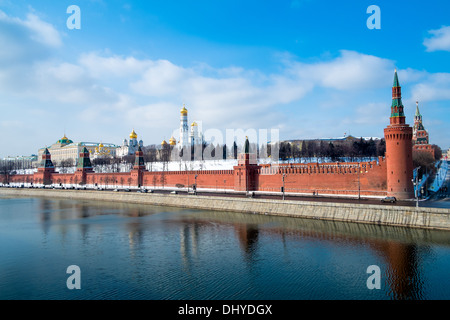 Day view of the Kremlin from the banks of the Moskva River in Moscow, Russia. - Stock Photo