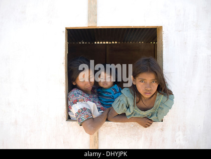 Guatemala indigenous family in Aqua Escondida, Solola, Guatemala. - Stock Photo