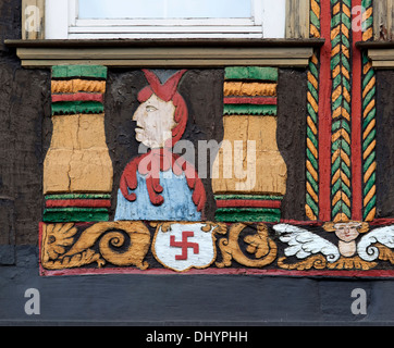 Coat of arms, Family Raven, 1542, Ornate Fachwerk-style, Decorations on a half-timbered house, Einbeck, Lower Saxony, - Stock Photo