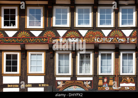 Half-timbered houses in the market square, Einbeck, Lower Saxony, Germany, Europe - Stock Photo