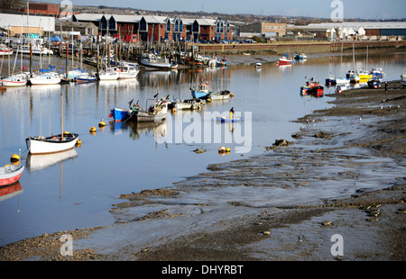View down River Adur and harbour at low tide Shoreham-by-sea Sussex UK - Stock Photo