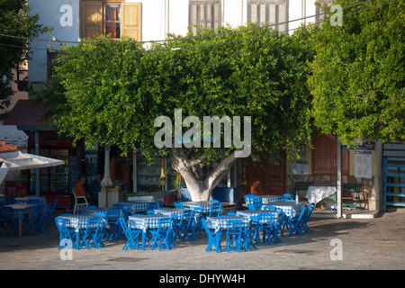 Griechenland, Dodekanes, Insel Chalki, Nimborio (Emborio), Taverne Maria - Stock Photo