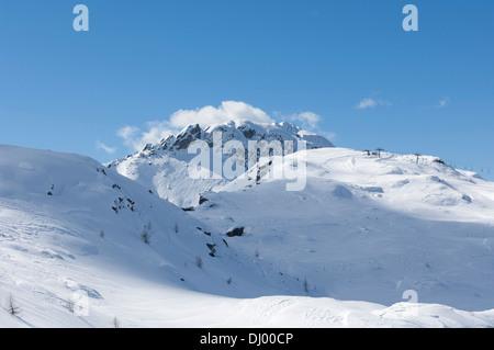 Tognola Ski lift, San Martino di Castrozza. Bolzano, Trentino alto Adige, Italy. - Stock Photo