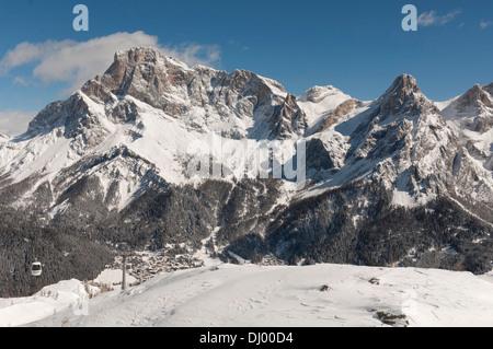 Tognola Ski lift and San Martino di Castrozza on the foreground, Bolzano, Trentino alto Adige, Italy. - Stock Photo