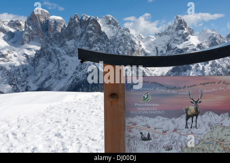 Ski lift, Pale di San Martino and Paneveggio Natural Park, San Martino di Castrozza, Bolzano, Trentino Alto Adige. - Stock Photo