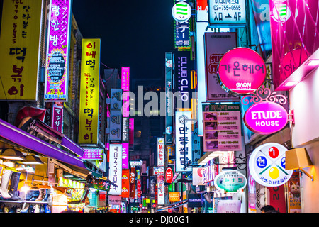 Myeong-dong district of Seoul, South Korea. - Stock Photo