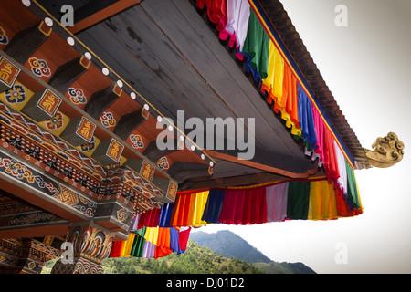 Bhutan, Thimpu Dzong, annual Tsechu, ornately painted decorated abbot's balcony - Stock Photo