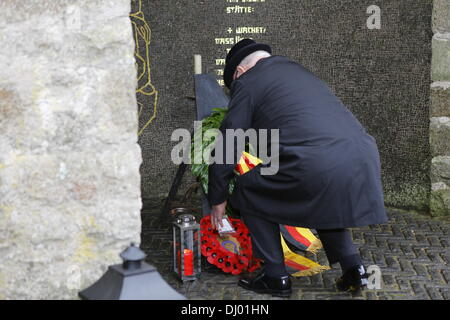 Dublin, Ireland. 15th November 2013. A representative of the Royal British Legion in Ireland lays a wreath at the - Stock Photo