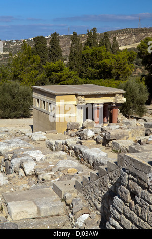 View on the Minoan Palace of Knossos, 2nd millennium BC, Heraklion region, on the island of Crete, Greece. - Stock Photo