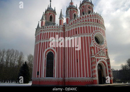 Church of the Birth of St. John the Baptist (Chesme Church) in winter. - Stock Photo