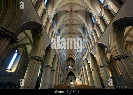 Interior of Wells Cathedral,  Church of England, Somerset, UK - Stock Photo
