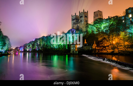 Durham Cathedral and Castle with the River Wear at Lumiere festival of light, Durham England - Stock Photo