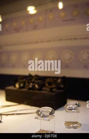Inside Diamondland, where exhibits educate visitors to Antwerp's Diamond District - Stock Photo