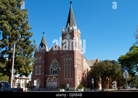 The red brick built St Johns Lutheran Church in the city of Orange, California . Was originally dedicated on July - Stock Photo