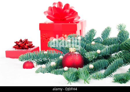 Christmas bauble with copy space, on on white background - Stock Photo