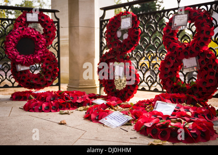 Wreaths at the Memorial Gates - Hyde Park Corner, also known as the Commonwealth Memorial Gates. - Stock Photo