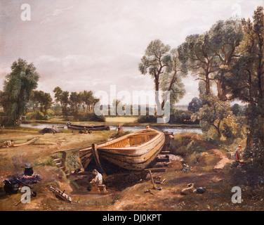 Boat-building near Flatford Mill, John Constable - Stock Photo