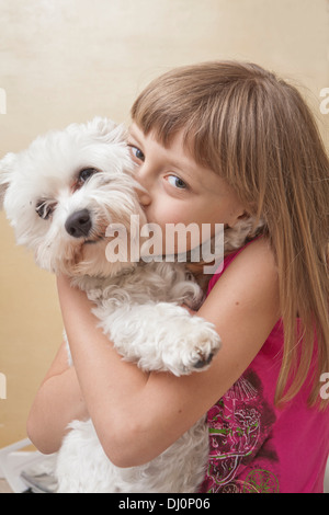 little girl with dog - Stock Photo