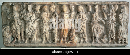 Roman sarcophagus. 4th century. Carrara marble. Figurative reliefs depicting scenes from the New Testament. - Stock Photo