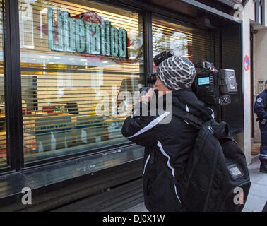 Paris, France. French Media, Lib-eration Newspaper headquarters Building, with Video Journalist Filming Window - Stock Photo