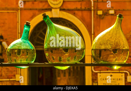 Arrangement of old bottles made by the New Zealand artist Bill Culbert  at the Church of Santa Maria della Pieta, - Stock Photo