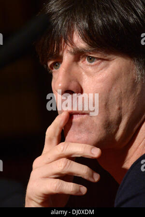 London, UK. 18th Nov, 2013. National soccer coach Joachim Loew speaks during a press conference in London, UK, 18 - Stock Photo