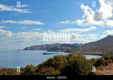 Imposing wide angle view on the gulf and coastline near Bali, Central Crete, Greece. - Stock Photo