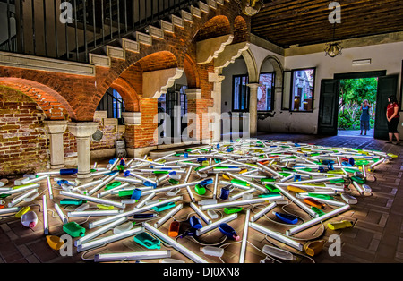 Light and objects arrangement by New Zealand artist Bill Culbert as part of the Biennale 2013 Festival in Venice - Stock Photo