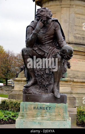 The Shakespeare Memorial - Hamlets Sculpture at Stratford upon Avon - Stock Photo