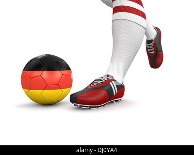Man and soccer ball  with German flag (clipping path included) - Stock Photo