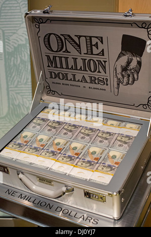 The Million Dollar Suitcase at the Federal Reserve Bank of Chicago's Money Museum - Stock Photo