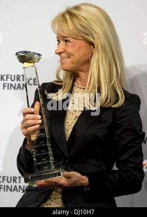 Frankfurt Main, Germany. 18th Nov, 2013. Annika Falkengren, president and chairwoman of the Skandinaviska Enskilda Banken (SEB) receives the 'European Banker of the Year 2012' award during the 16th 'Euro Finance Week' in Frankfurt Main, Germany, 18 November 2013. The biggest meeting of the finance and insurance industry in Europe takes place from 18 to 22 November 2013 in Frankfurt. Photo: Daniel Reinhardt/dpa/Alamy Live News Stock Photo