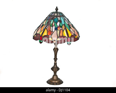 table lamp with red dragonfly - Stock Photo