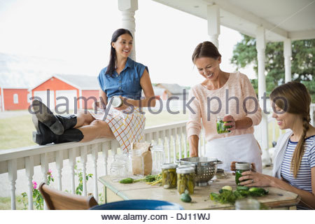 Female family members canning vegetables - Stock Photo