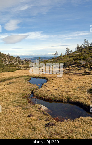 Peñalara, highest mountain peak in the mountain range of Guadarrama, Spain - Stock Photo