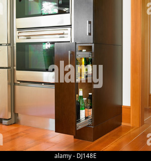 Contemporary Kitchen Cabinet With Stainless Steel Appliances; Victoria, Vancouver Island, British Columbia, Canada - Stock Photo