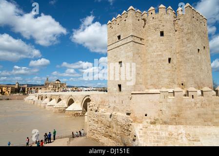 The Calahorra Tower to the side of the Roman Bridge, Cordoba, Andalusia, Spain - Stock Photo