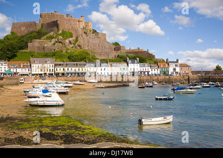 Gorey and Mont Orgueil Castle, Jersey, The Channel Islands - Stock Photo