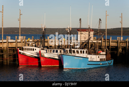 Red, red and Blue - 3 fishing boats. Three fishing boats painted in bright colours tied up at the main Digby wharf. - Stock Photo