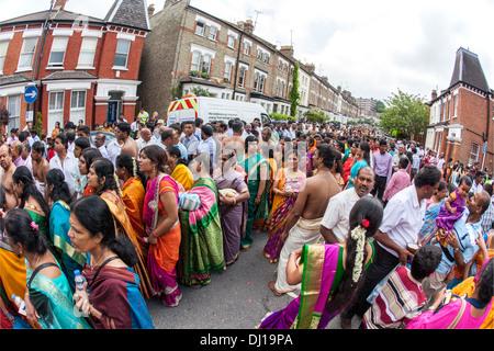 The Rath Yatra Festival from the Murugan Temple North London UK - Stock Photo