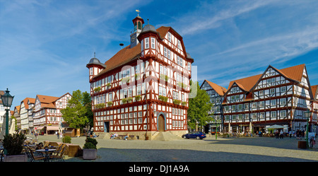 Town Hall on the Market Square, Melsungen, Hesse, Germany - Stock Photo