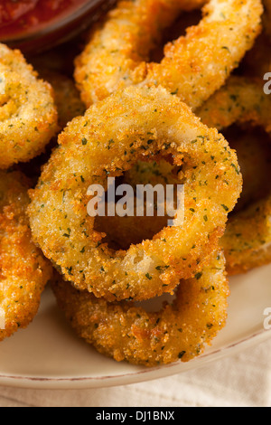 Homemade Fried Breaded Calamari with Marinara Sauce - Stock Photo